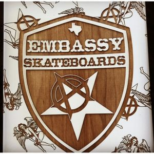 Engraved Embassy Skateboards deck